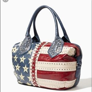 CHARMING CHARLIE American Flag Faux Leather Tote